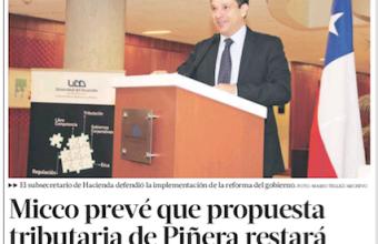 Micco prevé que propuesta tributaria de Piñera restará 0,6% del PIB a la recaudación