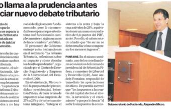 Micco llama a la prudencia antes de iniciar nuevo debate tributario