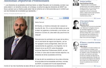 Gobiernos Corporativos en las Sociedades Anónimas Deportivas Profesionales, por Matías Pascuali