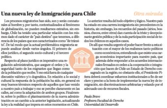 Opinión: Una nueva ley de Inmigración para Chile, por Paula Bravo