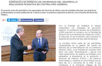 CGR informa el acuerdo de pasantias firmado con la Facultad de Derecho UDD