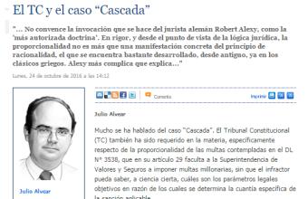 El TC y el caso Cascadas. Julio Alvear - Mercurio Legal.