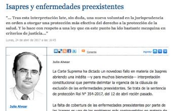 Columna del profesor investigador Julio Alvear: Isapres y enfermedades preexistentes