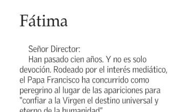 Carta al Director, del Profesor Julio Alvear: Fátima