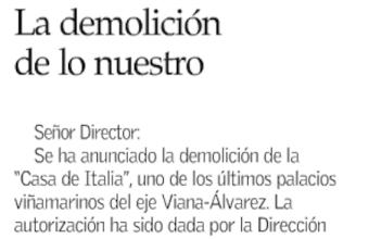 Carta al Director: La demolición de lo nuestro, por Julio Alvear (El Mercurio)