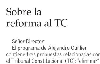 Carta al Director: Sobre la reforma al TC, por Sergio Verdugo