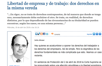 Opinión: Libertad de empresa y de trabajo: dos derechos en la misma vereda, por Julio Alvear