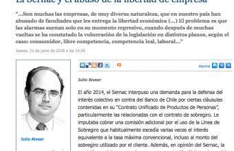 Opinión: El Sernac y el abuso de la libertad de empresa, por Julio Alvear