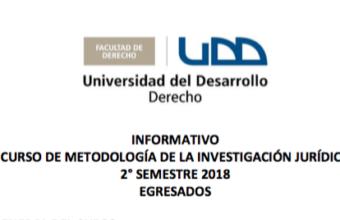 Curso Metodología de la Investigación Jurídica 2º Semestre 2018, Egresados