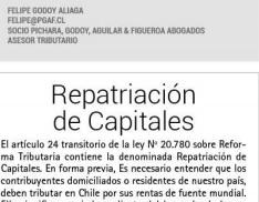 Columna de Felipe Godoy: Repatriación de Capitales
